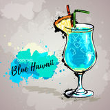 Hand drawn illustration of cocktail blue hawaii. Stock Photo