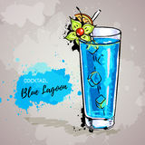 Hand drawn illustration of cocktail blue lagoon Royalty Free Stock Photography