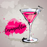 Hand drawn illustration of cocktail cosmopolitan. Royalty Free Stock Photography