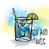 Hand drawn illustration of cocktail. vector illustration