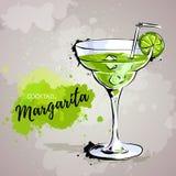 Hand drawn illustration of cocktail margarita. Artictic illustration of cocktail margarita vector illustration