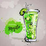 Hand drawn illustration of cocktail mojito. Royalty Free Stock Image