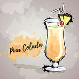 Hand drawn illustration of cocktail pina colada. Royalty Free Stock Photo