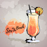 Hand drawn illustration of cocktail sex on the beach. Royalty Free Stock Images