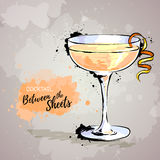 Hand drawn illustration of cocktail between the sheets Royalty Free Stock Photography
