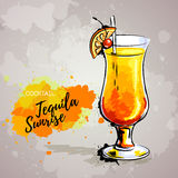 Hand drawn illustration of cocktail tequila sunrise. Royalty Free Stock Photography