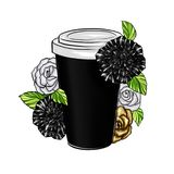 Hand Drawn Illustration of Coffee Cup with florals - Illustration stock illustration