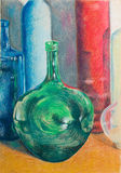 Hand drawn illustration of colorful bottles. Hand drawn illustration of still life with colorful different shaped bottles on a table Royalty Free Stock Photo