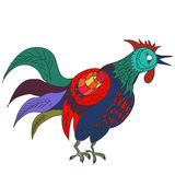 Hand drawn  illustration of colorful rooster. Isolated in white. 2017 is the year of Red Fire Chicken on Chinese zodiac. Can use them for greeting card Stock Images
