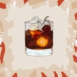 Hand drawn illustration of Contemporary Classics Black Russian cocktail. Sketch stock illustration
