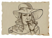 Smoker. An hand drawn illustration (converted into vector) of middle aged lady from the higher social strata rest coyly smokes marijuana joint. Vector is Stock Photos