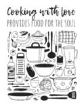 Hand drawn illustration cooking tools, dishes, food and quote. Creative ink art work. Actual vector drawing. Kitchen set and text royalty free illustration