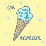 Hand drawn illustration of crazy funny creepy zombie cartoon cone waffle blue ice cream with blue and peach pink stars and letteri. Ng ICE SCREAM sticker Royalty Free Stock Photos
