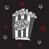 Hand drawn illustration of crazy funny popcorn bucket box with red and white stars and cop porn anagram. Hand drawn illustration of crazy funny popcorn bucket Stock Image