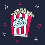 Hand drawn illustration of crazy funny popcorn bucket box with red and white stars and cop porn anagram. Happy birthday or halloween party.   on a white Royalty Free Stock Images