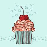 Hand drawn illustration of cupcake with cherry Stock Photo