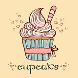 Hand drawn illustration of cupcake Stock Images