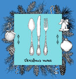 Hand drawn illustration of curly ornamental silver tableware, plate a blue background. Vector frame with hand drawn elements: bran. Ches of fir, cones, streamers Royalty Free Stock Images