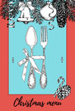 Hand drawn illustration of curly ornamental silver tableware, plate a blue and red background. Vector frame with hand drawn elemen Stock Image