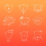 Hand drawn illustration - cute cats. Doodle. Vector Royalty Free Stock Photography