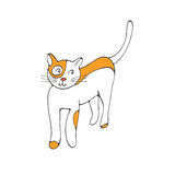 Hand drawn illustration of cute domestic cat Stock Photos