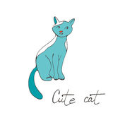 Hand drawn illustration of cute domestic cat Stock Image
