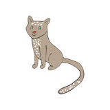 Hand drawn illustration of cute domestic cat Stock Photography