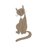 Hand drawn illustration of cute domestic cat Royalty Free Stock Photography