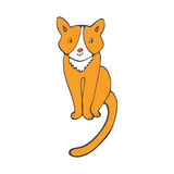 Hand drawn illustration of cute domestic cat Royalty Free Stock Photo
