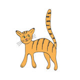 Hand drawn illustration of cute domestic cat Royalty Free Stock Photos