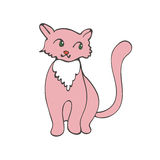 Hand drawn illustration of cute domestic cat Stock Photo