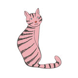 Hand drawn illustration of cute domestic cat Stock Images