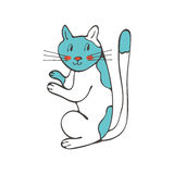 Hand drawn illustration of cute domestic cat Royalty Free Stock Images
