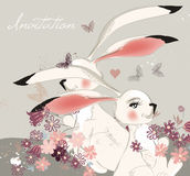 Hand drawn illustration  with cute rabbits  and field of flowers Royalty Free Stock Photos