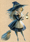 Hand drawn illustration of a cute witch Royalty Free Stock Photos