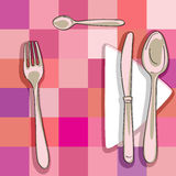 Cutlery. Hand drawn illustration of a cutlery series over a kitchen pattern with squares Stock Image