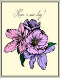 Hand drawn illustration. Delicate pink and purple flowers. Greeting card. Have a nice day. Stock Photos