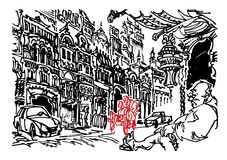 Hand drawn illustration, depicting a Malay street scene in George Town, on Penang Island. Based on my own drawing of a row of old houses in SE Asia, this vector illustration
