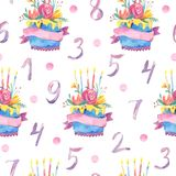 Watercolor seamless pattern with sweet cakes and numbers. Hand drawn illustration for design on white background Royalty Free Stock Photos