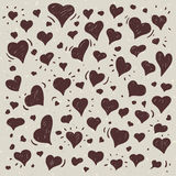 Hand drawn illustration of different lovely hearts. Hand drawn one color illustration of different lovely hearts on light background Stock Photos