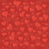 Hand drawn illustration of different lovely hearts. On red background Stock Photos