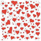 Hand drawn illustration of different lovely hearts. Hand drawn illustration of different lovely red hearts  on white Royalty Free Stock Photos