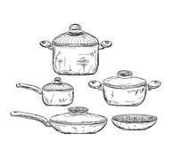 Hand drawn Illustration of Dishware stock photo