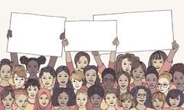 Diverse group of women holding empty signs stock illustration