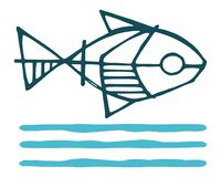 Fish and water symbol vector ink illustration. Hand drawn illustration or drawing of a fish and water symbol Royalty Free Stock Photo