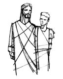Jesus Christ walking with young man. Hand drawn illustration or drawing of Jesus Christ walking with young man Stock Photography