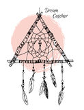Hand drawn illustration - Dream catcher in triangle form. Tribal Stock Photos