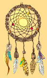 Hand drawn illustration dreamcatcher. Beautiful hand drawn illustration dreamcatcher. Boho style dreamcatcher. Sketch style feathers Stock Photo