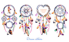 Hand drawn illustration of 4 dreamcatchers.