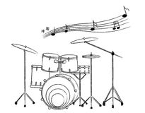 Hand drawn illustration of a drum set on white bac. The Hand drawn illustration of a drum set on white background Royalty Free Stock Photography